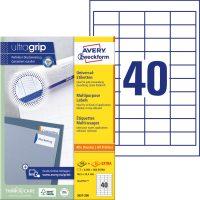 Avery Zweckform No. 3657 univerzális 48,5 x 25,4 mm méretű, fehér öntapadó etikett címke A4-es íven - 4000 címke / doboz - 100 ív / doboz (Avery 3657)