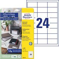 Avery Zweckform No. 3658-10 univerzális 64,6 x 33,8 mm méretű, fehér öntapadó etikett címke A4-es íven - 240 címke / csomag - 10 ív / csomag (Avery 3658-10)