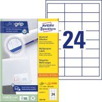 Avery Zweckform No. 3658-200 univerzális 64,6 x 33,8 mm méretű, fehér öntapadó etikett címke A4-es íven - 4800 címke / doboz - 200 ív / doboz (Avery 3658-200)
