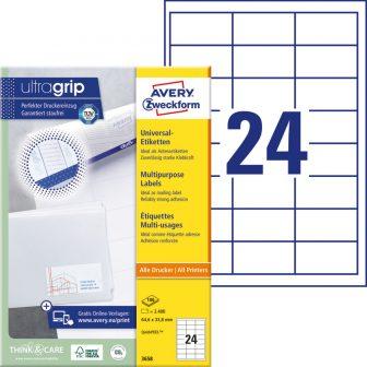 Avery Zweckform No. 3658 univerzális 64,6 x 33,8 mm méretű, fehér öntapadó etikett címke A4-es íven - 2400 címke / doboz - 100 ív / doboz (Avery 3658)