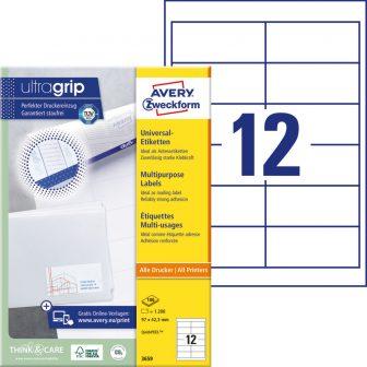 Avery Zweckform No. 3659 univerzális 97 x 42,3 mm méretű, fehér öntapadó etikett címke A4-es íven - 1200 címke / doboz - 100 ív / doboz (Avery 3659)