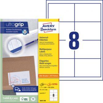 Avery Zweckform No. 3660-200 univerzális 97 x 67,7 mm méretű, fehér öntapadó etikett címke A4-es íven - 1760 címke / doboz - 220 ív / doboz (Avery 3660-200)