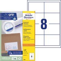 Avery Zweckform No. 3660 univerzális 97 x 67,7 mm méretű, fehér öntapadó etikett címke A4-es íven - 800 címke / doboz - 100 ív / doboz (Avery 3660)