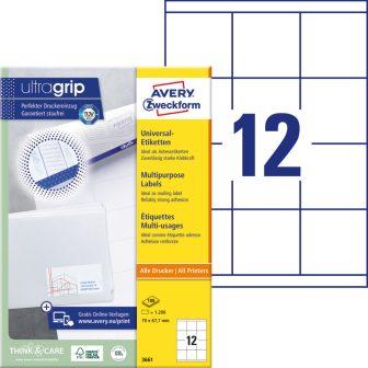 Avery Zweckform No. 3661 univerzális 70 x 67,7 mm méretű, fehér öntapadó etikett címke A4-es íven - 1200 címke / doboz - 100 ív / doboz (Avery 3661)