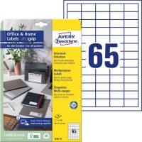 Avery Zweckform No. 3666-10 univerzális 38 x 21,2 mm méretű, fehér öntapadó etikett címke A4-es íven - 650 címke / csomag - 10 ív / csomag (Avery 3666-10)