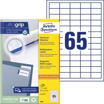 Avery Zweckform No. 3666 univerzális 38 x 21,2 mm méretű, fehér öntapadó etikett címke A4-es íven - 6500 címke / doboz - 100 ív / doboz (Avery 3666)