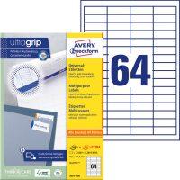 Avery Zweckform No. 3667-200 univerzális 48,5 x 16,9 mm méretű, fehér öntapadó etikett címke A4-es íven - 14080 címke / doboz - 220 ív / doboz (Avery 3667-200)