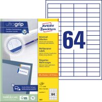 Avery Zweckform No. 3667 univerzális 48,5 x 16,9 mm méretű, fehér öntapadó etikett címke A4-es íven - 6400 címke / doboz - 100 ív / doboz (Avery 3667)