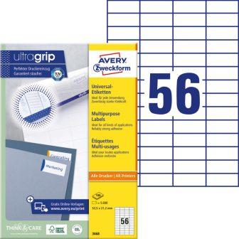 Avery Zweckform No. 3668 univerzális 52,5 x 21,2 mm méretű, fehér öntapadó etikett címke A4-es íven - 5600 címke / doboz - 100 ív / doboz (Avery 3668)
