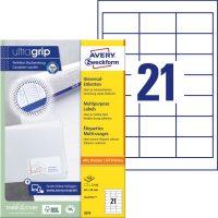 Avery Zweckform No. 3670 univerzális 64 x 36 mm méretű, fehér öntapadó etikett címke A4-es íven - 2100 címke / doboz - 100 ív / doboz (Avery 3670)