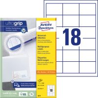 Avery Zweckform No. 3671 univerzális 64 x 45 mm méretű, fehér öntapadó etikett címke A4-es íven - 1800 címke / doboz - 100 ív / doboz (Avery 3671)
