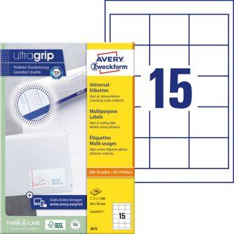 Avery Zweckform No. 3672 univerzális 64 x 50 mm méretű, fehér öntapadó etikett címke A4-es íven - 1500 címke / doboz - 100 ív / doboz (Avery 3672)
