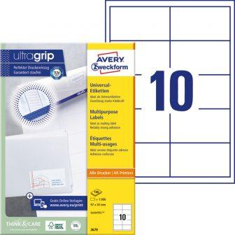 Avery Zweckform No. 3679 univerzális 97 x 55 mm méretű, fehér öntapadó etikett címke A4-es íven - 1000 címke / doboz - 100 ív / doboz (Avery 3679)