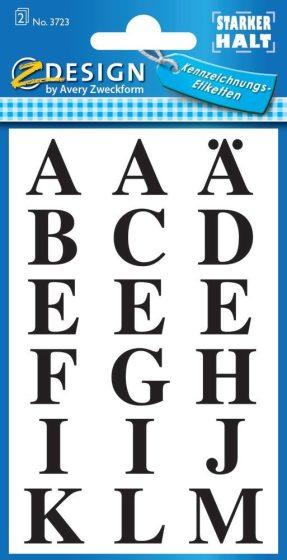 Avery Zweckform Z-Design No. 3723 öntapadó átlátszó nyomtatott nagybetűk - fekete színben - kiszerelés: 2 ív / csomag (Avery Z-Design 3723)