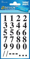 Avery Zweckform Z-Design No. 3724 öntapadó átlátszó számok - fekete színben - kiszerelés: 2 ív / csomag (Avery Z-Design 3724)