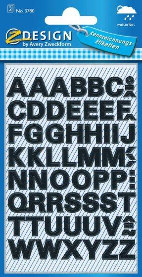 Avery Zweckform Z-Design No. 3780 időjárásálló öntapadó nyomtatott nagybetűk - fekete színben - kiszerelés: 2 ív / csomag (Avery Z-Design 3780)