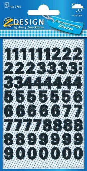 Avery Zweckform Z-Design No. 3781 időjárásálló öntapadó számok - fekete színben - kiszerelés: 2 ív / csomag (Avery Z-Design 3781)