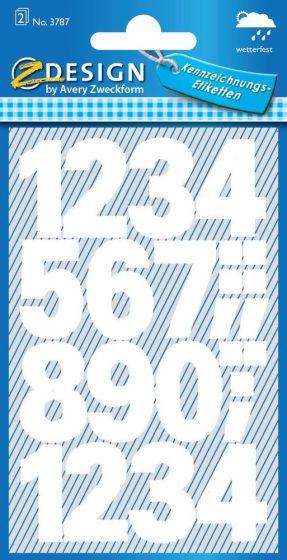 Avery Zweckform Z-Design No. 3787 időjárásálló öntapadó számok - fehér színben - kiszerelés: 2 ív / csomag (Avery Z-Design 3787)