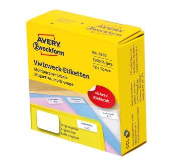 Avery Zweckform No. 3830 fehér színű, 18 x 12 mm méretű, kézzel írható, tekercses öntapadós etikett címke adagoló dobozban - doboz tartalma: 1 tekercs, 1000 darab címke