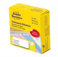 Avery Zweckform No. 3831 fehér színű, 38 x 14 mm méretű, kézzel írható, tekercses öntapadós etikett címke adagoló dobozban - doboz tartalma: 1 tekercs, 400 darab címke