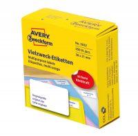 Avery Zweckform No. 3832 fehér színű, 38 x 21 mm méretű, kézzel írható, tekercses öntapadós etikett címke adagoló dobozban - doboz tartalma: 1 tekercs, 350 darab címke