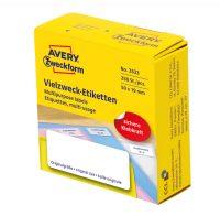 Avery Zweckform No. 3833 fehér színű, 50 x 19 mm méretű, kézzel írható, tekercses öntapadós etikett címke adagoló dobozban - doboz tartalma: 1 tekercs, 250 darab címke