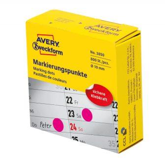 Avery Zweckform No. 3850 magenta színű, 10 mm átmérőjű, tekercses öntapadós jelölő címke adagoló dobozban - doboz tartalma: 1 tekercs, 800 darab címke