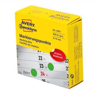 Avery Zweckform No. 3851 zöld színű, 10 mm átmérőjű, tekercses öntapadós jelölő címke adagoló dobozban - doboz tartalma: 1 tekercs, 800 darab címke