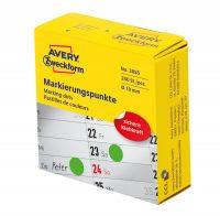 Avery Zweckform No. 3855 zöld színű, 19 mm átmérőjű, tekercses öntapadós jelölő címke adagoló dobozban - doboz tartalma: 1 tekercs, 250 darab címke