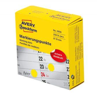 Avery Zweckform No. 3856 sárga színű, 19 mm átmérőjű, tekercses öntapadós jelölő címke adagoló dobozban - doboz tartalma: 1 tekercs, 250 darab címke