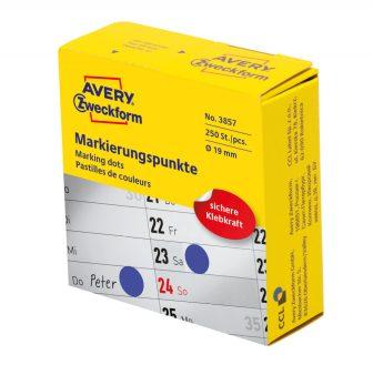 Avery Zweckform No. 3857 kék színű, 19 mm átmérőjű, tekercses öntapadós jelölő címke adagoló dobozban - doboz tartalma: 1 tekercs, 250 darab címke