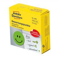 Avery Zweckform No. 3858 zöld színű, 19 mm átmérőjű, tekercses öntapadós motivációs matrica adagoló dobozban mosolygó arc piktogrammal - doboz tartalma: 1 tekercs, 250 darab címke