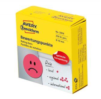 Avery Zweckform No. 3859 piros színű, 19 mm átmérőjű, tekercses öntapadós motivációs matrica adagoló dobozban szomorú arc piktogrammal - doboz tartalma: 1 tekercs, 250 darab címke