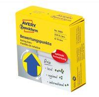 Avery Zweckform No. 3860 sárga színű, 19 mm átmérőjű, tekercses öntapadós motivációs matrica adagoló dobozban kék színű nyíl piktogrammal - doboz tartalma: 1 tekercs, 250 darab címke