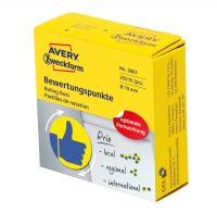 Avery Zweckform No. 3861 sárga színű, 19 mm átmérőjű, tekercses öntapadós motivációs matrica adagoló dobozban kék színű lájk piktogrammal - doboz tartalma: 1 tekercs, 250 darab címke
