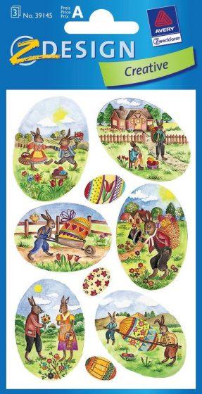 Avery Zweckform Z-Design No. 39145 húsvéti papír matrica - húsvéti készülődés motívumokkal - kiszerelés: 3 ív / csomag (Avery Z-Design 39145)