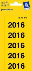 Avery Zweckform No. 43-216 előre nyomtatott 26 x 60 mm méretű, sárga színű öntapadó etikett címke 2016-os évszámmal - 100 címke / csomag - 20 ív / csomag (Avery 43-216)