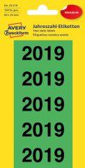 Avery Zweckform No. 43-219 előre nyomtatott 26 x 60 mm méretű, zöld színű öntapadó etikett címke 2019-es évszámmal - 100 címke / csomag - 20 ív / csomag (Avery 43-219)