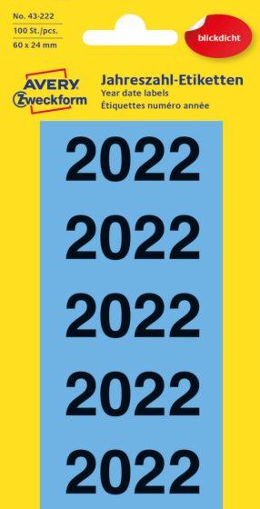 Avery Zweckform 43-222 öntapadós 2022-es évszám címke