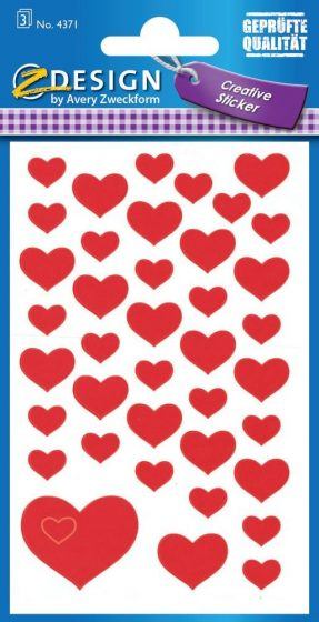 Avery Zweckform Z-Design No. 4371 öntapadó papír matrica - piros szívek mintával - kiszerelés: 3 ív / csomag (Avery Z-Design 4371)
