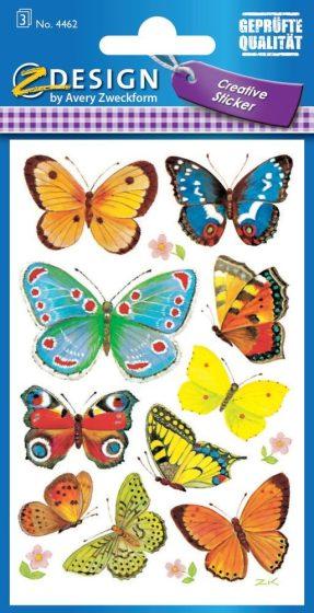 Avery Zweckform Z-Design No. 4462 öntapadó papír matrica - különböző színű lepkék mintával - kiszerelés: 3 ív / csomag (Avery Z-Design 4462)