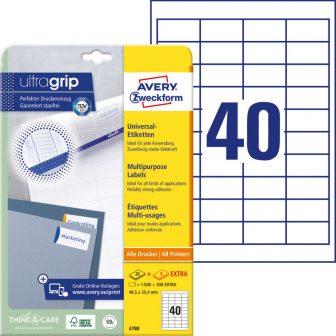 Avery Zweckform No. 4780 univerzális 48,5 x 25,4 mm méretű, fehér öntapadó etikett címke A4-es íven - 1200 címke / csomag - 30 ív / csomag (Avery 4780)