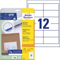 Avery Zweckform No. 4781 univerzális 97 x 42,3 mm méretű, fehér öntapadó etikett címke A4-es íven - 360 címke / csomag - 30 ív / csomag (Avery 4781)