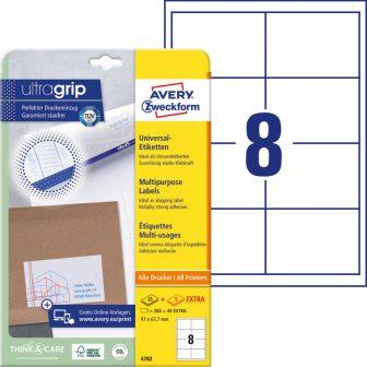 Avery Zweckform No. 4782 univerzális 97 x 67,7 mm méretű, fehér öntapadó etikett címke A4-es íven - 240 címke / csomag - 30 ív / csomag (Avery 4782)
