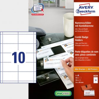 Avery Zweckform No. 4820 univerzális A4 mikroperforált fehér 190 g -os névkitűző betétlap és névkitűző együtt (méret: 54 x 90 mm, 50 betétlap és 50 névkitűző / csomag) (Avery 4820)
