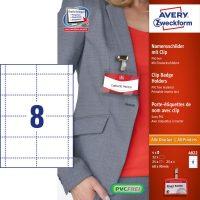 Avery Zweckform No. 4822 univerzális A4 mikroperforált fehér 190 g -os névkitűző betétlap és névkitűző együtt (méret: 60 x 90 mm, 32 betétlap és 25 névkitűző / csomag) (Avery 4822)