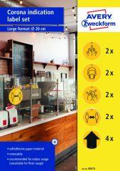 Avery Zweckform No. 49415 öntapadós, sárga színű, 200 mm átmérőjű koronavírus elleni információs címke csomag, visszaszedhető ragasztóval - kiszerelés: 12 címke / csomag