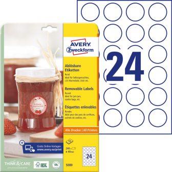 Avery Zweckform No. 5080 fehér színű 40 mm átmérőjű, univerzálisan nyomtatható, öntapadós etikett címke, visszaszedhető ragasztóval A4-es íven - kiszerelés: 240 címke / 10 lap