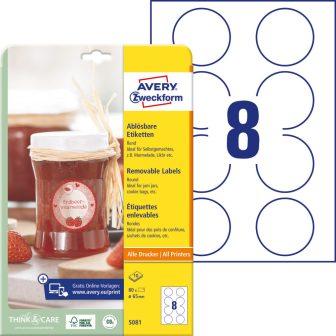 Avery Zweckform No. 5081 fehér színű 65 mm átmérőjű, univerzálisan nyomtatható, öntapadós etikett címke, visszaszedhető ragasztóval A4-es íven - kiszerelés: 80 címke / 10 lap