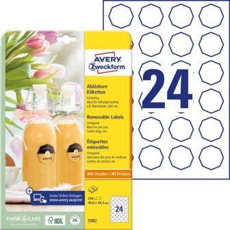Avery Zweckform No. 5082 fehér színű 40,8 x 40,3 mm méretű, univerzálisan nyomtatható, öntapadós etikett címke, visszaszedhető ragasztóval A4-es íven - kiszerelés: 240 címke / 10 lap